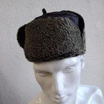 Brand New Black Leather Sheepskin Lamb Fur Hat Men Man Size 23