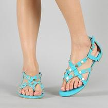 Brand New Blue Aqua Gold Studs Strappy Gladiator Flats Women Sandal Sz 6.5 Photo