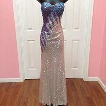 Brand New Blush Prom Silver and Purple Dress Sz8 Photo