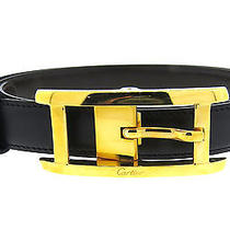 Brand New Cartier Black Leather Belt Gold Buckle Nib Photo