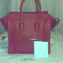 Brand New Celine Coquelicot Red Micro Luggage Drummed Leather Bag Photo