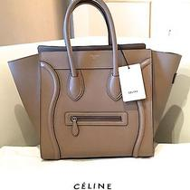 Brand New Celine Dune Beige Drummed Leather Mini Luggage Bag Tote W/orig Receipt Photo