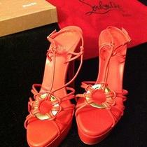 Brand New Christian Louboutin Coral Leather Discoulilou 140 Platform Sandals Photo