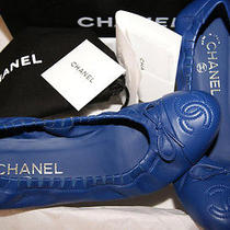 Brand New Classic Chanel Ballerina Flats Sapphire Blue 38.5 Made in Italy Photo