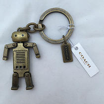 Brand New Coach Antique Brass Robot  Moveable Arms/legs  Key Ring  Key Fob Photo