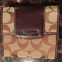 Brand New Coach Bifold Wallet Brown Logo Authentic Canvas Photo