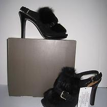 Brand New Coach Black Silky Suede With Fur Accent Slingback Stacked Heel Sandals Photo