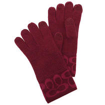Brand New Coach Knit Tech Touch Gloves F86026 Bright Berry 65 Photo