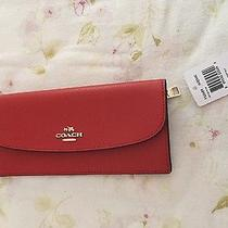 Brand New Coach Red Leather Bifold Wallet Photo