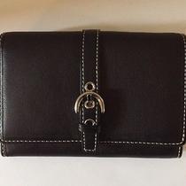 Brand New Coach Soho Black Leather Wallet W/ Buckle Nwot Photo