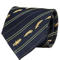 Brand New Colorata Fossil Fish Pattern Tie Stripe Navy From Best Deal Japan Photo