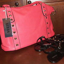 Brand New Esbag Handbag/ Tote and Brand New Express Women's Sandals Size 7 Black Photo