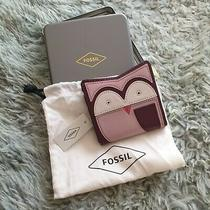 Brand New Fossil Leather Wallet Purple Owl Design Photo