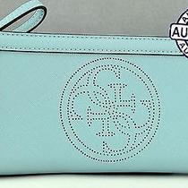 Brand New Genuine Guess Ladies Wallet Purse Perforate Logo Aqua Women Slg Photo