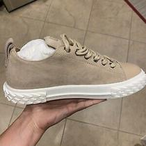Brand New Giuseppe Zanotti Suede Womens Sneakers Size 38.5 Tan Beige Nude Photo