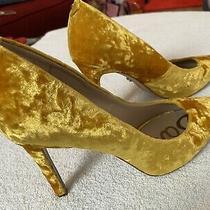 Brand New - Gorgeous Gold Crushed Velvet Heels Bu Sam Edelman- Size 8 M Photo