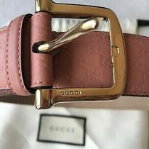 Brand New Gucci Leather Belt Gg Guccissima Pink Blush Dusty Rose 85 / 34 Photo