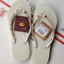 Brand New Havaianas Women's Hardware Slim Flip Flops White Size 35-36  4/5 Photo
