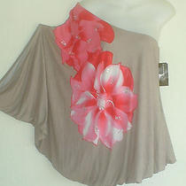 Brand New Inc Macys Dress Top Sexy One Shoulder Floral Rhinestones L-Xlp Kimono Photo