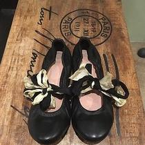 Brand New Jeffrey Campbell Leather Ballet Flat Shoes Size 9.5 Ribbon Bow Black Photo