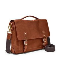 Brand New Leather Fossil Defender Portfolio Brief Bag Messenger Laptop Cognac  Photo