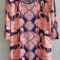 Brand New Lilly Pulitzer Beacon Medium Navy Gimme Some Leg Flamingo Dress Photo