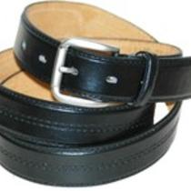 Brand New Men's Dressy Fancy Center Double Stitched Leather Dress Belt - Gift Photo