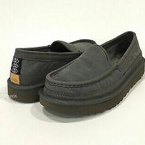 Brand New Mens Ugg Dex Slip-on Slippers Dark Gray Suede Size 10 Photo
