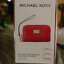 Brand New Michael Kors  Iphone Red Leather Zip Wallet/wristlet Photo