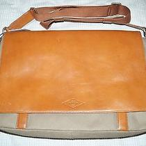 Brand New Nwt Fossil Brown Canvas and Leather Mens Laptop Messenger Bag Photo