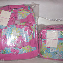 Brand New Pottery Barn Kidsmackenzieaqua Hibiscuslarge Backpack Lunch Box Photo