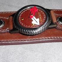 Brand New Prada Leather Bracelet Cuff With Mock-Up Leather Watch Photo