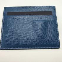 Brand New Prada Men's Saffiano Card Holder in Colbato Blue (Card Case) Photo