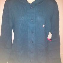 Brand New Roxy Quiksilver Big Blue Button Up Hooded Hoodie Sweater Top Xl Photo