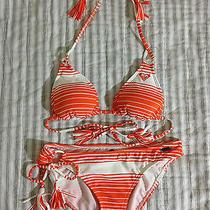 Brand New Roxy White & Orange Striped Halter Bikini Top & Bottom Set in Size S Photo