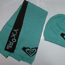 Brand New Roxy Women Aqua Marine Beanie   Scarf Set - Aqua / Brown  Photo