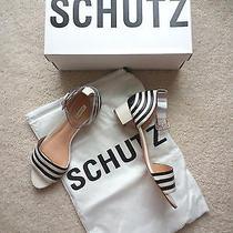 Brand New Schutz Fathia Striped Chunky Sandal Pearl/black Size 6.5 Rsp 169 Photo