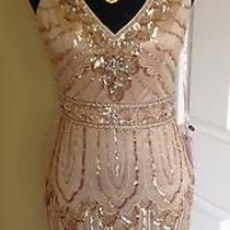 Brand New Sue Wong Champagne Beaded Short Formal Party Cocktail Evening Dress 6 Photo