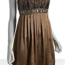 Brand New Sue Wong  Formal Short Silk Beaded Cocoa Cocktail Evening Dress 6 Photo