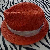 Brand New Summer Orange Hat by Hinge 100% Straw One Size  Photo