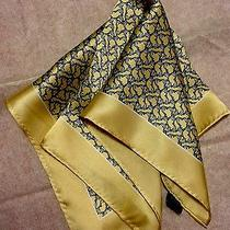 Brand New Tag Pocket Square 100% Silk Blue Yellow Dolphin Animal Hermes Pattern Photo