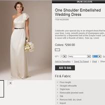 Brand New the Limited Wedding Dress Size 6 - Empire Waist  One Shoulder  Photo