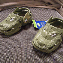 Brand New Toddler Boys Green Polliwalks Croc Like Sandals Size 5 M Photo