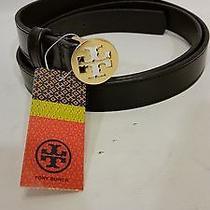 Brand New Tory Burch  Black 7/8 Reva Logo Belt L Photo