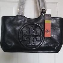 Brand New Tory Burch Black Bombe Tote Hand Bag Photo