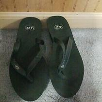 Brand New Ugg Ruby Wedge Flip Flop Sandals Women's Size 8 Black Leather Thongs Photo