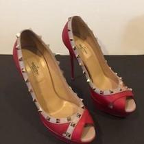 Brand New Valentino Rockstud Red Nude Peep Toe Platform Pumps Heels Size 38 Nib Photo