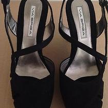 Brand New via Spiga v-Crag Black Suede Wedge Sandals Size 8m Photo