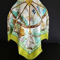 Brand New - Vive Le Vent  - Hermes Silk Twill Scarf  - 90 Cm - Green Photo