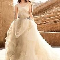 Brand New White by Vera Wang Stone Ombre Tulle Wedding Gown Dress Size 18 Photo